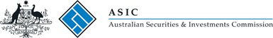 Commonwealth Coat of Arms logo and ASIC logo